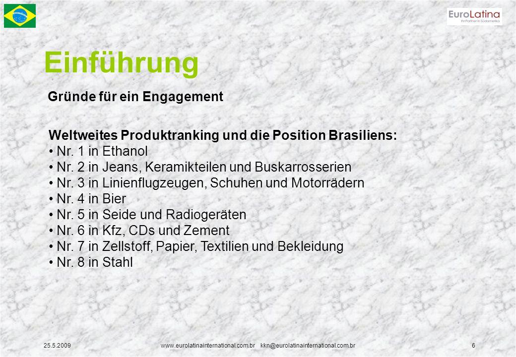 25.5.2009www.eurolatinainternational.com.br kkn@eurolatinainternational.com.br6 Einführung Gründe für ein Engagement Weltweites Produktranking und die Position Brasiliens: Nr.