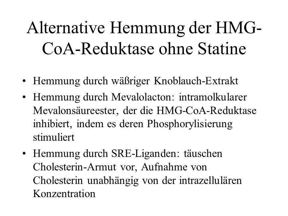 Alternative Hemmung der HMG- CoA-Reduktase ohne Statine Hemmung durch wäßriger Knoblauch-Extrakt Hemmung durch Mevalolacton: intramolkularer Mevalonsä