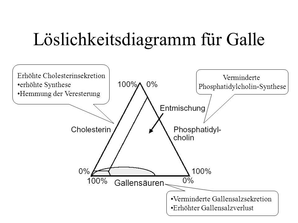 Löslichkeitsdiagramm für Galle Erhöhte Cholesterinsekretion erhöhte Synthese Hemmung der Veresterung Verminderte Gallensalzsekretion Erhöhter Gallensa