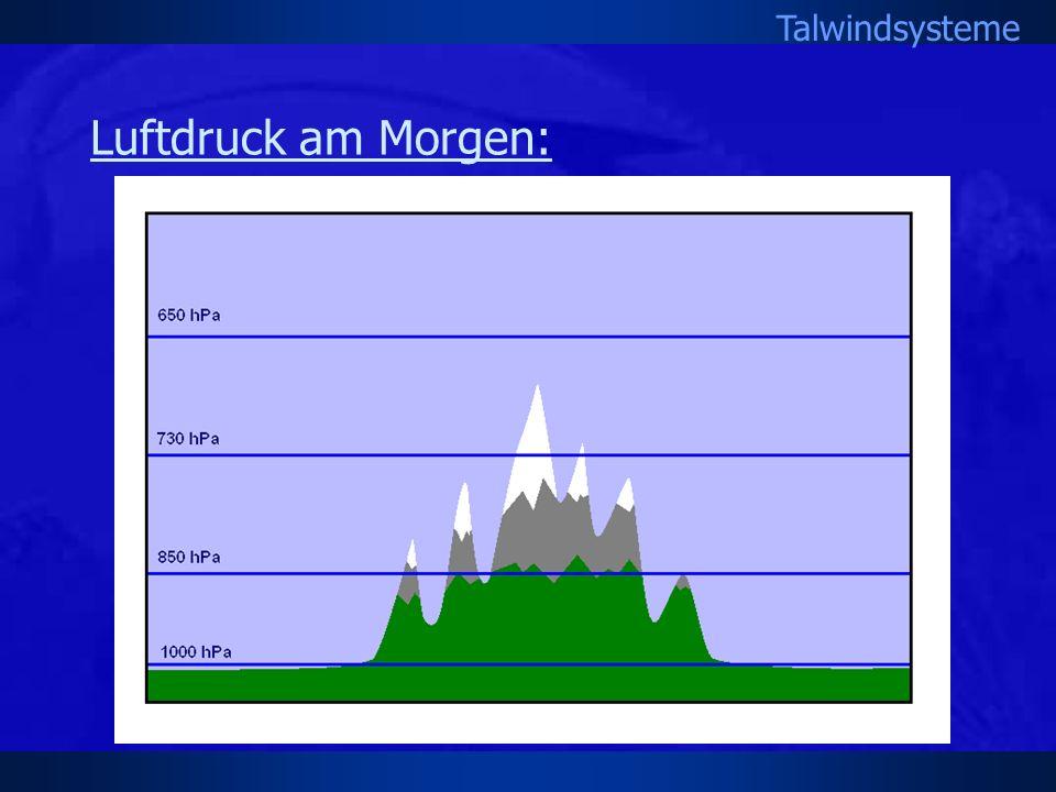 Talwindsysteme Luftdruck am Morgen: