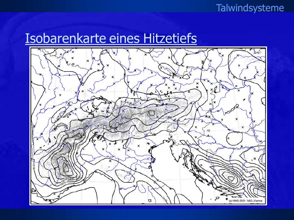 Talwindsysteme Isobarenkarte eines Hitzetiefs