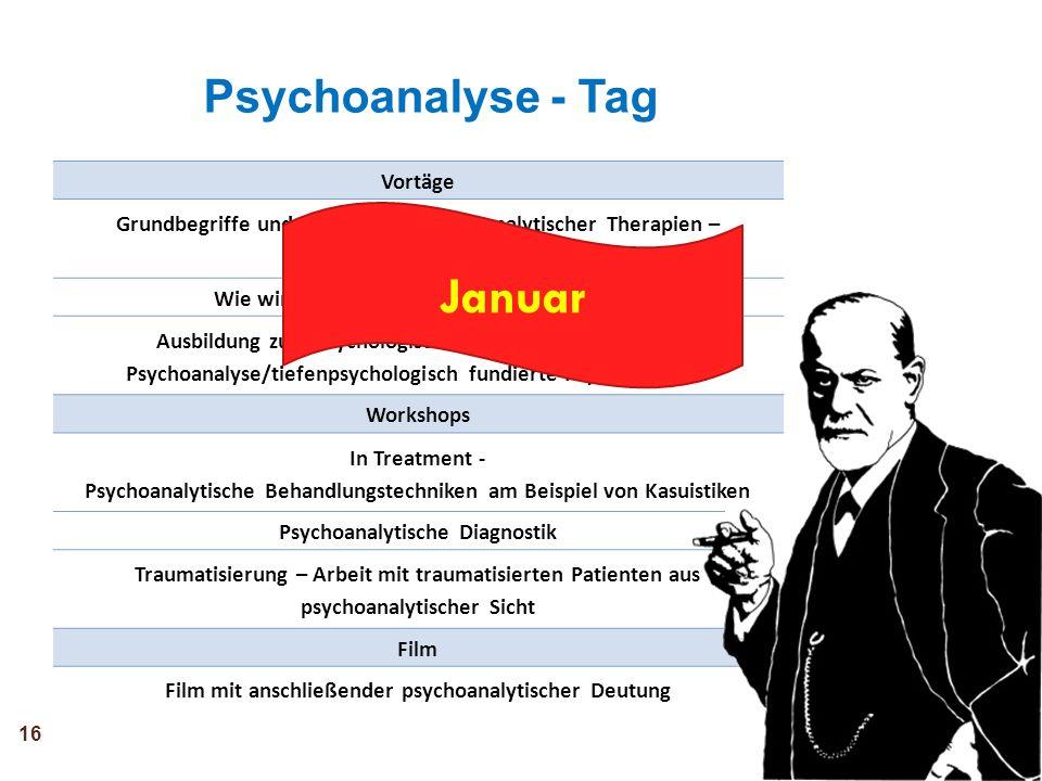 Vortäge Grundbegriffe und Grundlagen psychoanalytischer Therapien – Behandlungskonzepte Wie wirken Psychodynamische Therapien? Ausbildung zum Psycholo