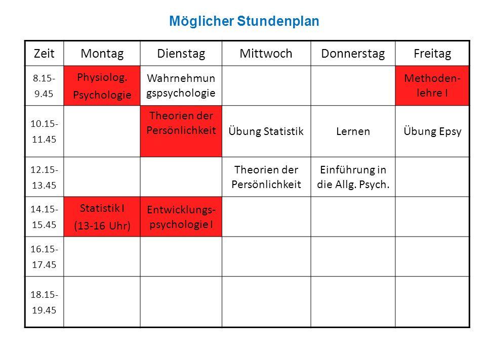 ZeitMontagDienstagMittwochDonnerstagFreitag 8.15- 9.45 Physiolog.