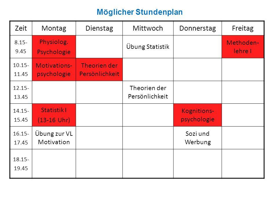 ZeitMontagDienstagMittwochDonnerstagFreitag 8.15- 9.45 Physiolog. Psychologie Übung Statistik Methoden- lehre I 10.15- 11.45 Motivations- psychologie