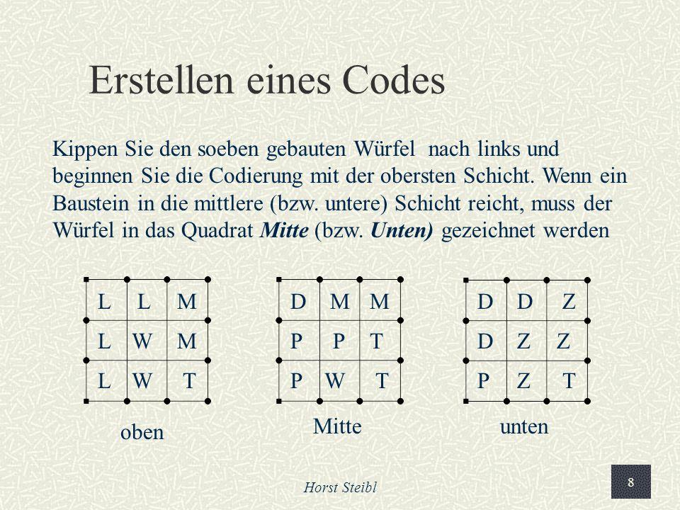 Horst Steibl 8 Erstellen eines Codes Kippen Sie den soeben gebauten Würfel nach links und beginnen Sie die Codierung mit der obersten Schicht.