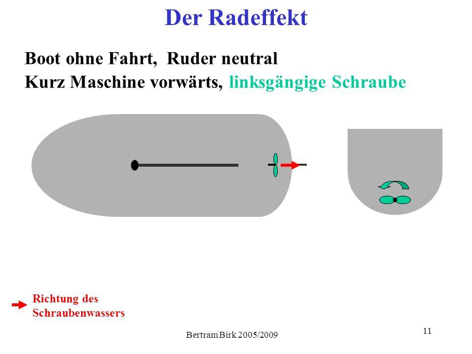 11 Der Radeffekt Boot ohne Fahrt, Ruder neutral Kurz Maschine vorwärts, linksgängige Schraube Richtung des Schraubenwassers
