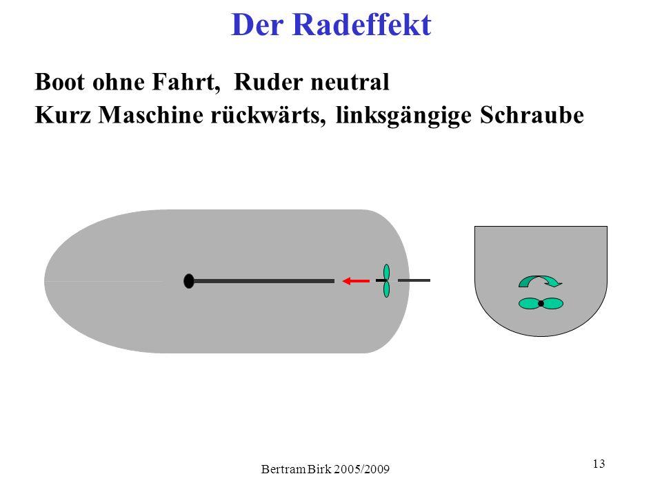 Bertram Birk 2005/2009 13 Der Radeffekt Boot ohne Fahrt, Ruder neutral Kurz Maschine rückwärts, linksgängige Schraube