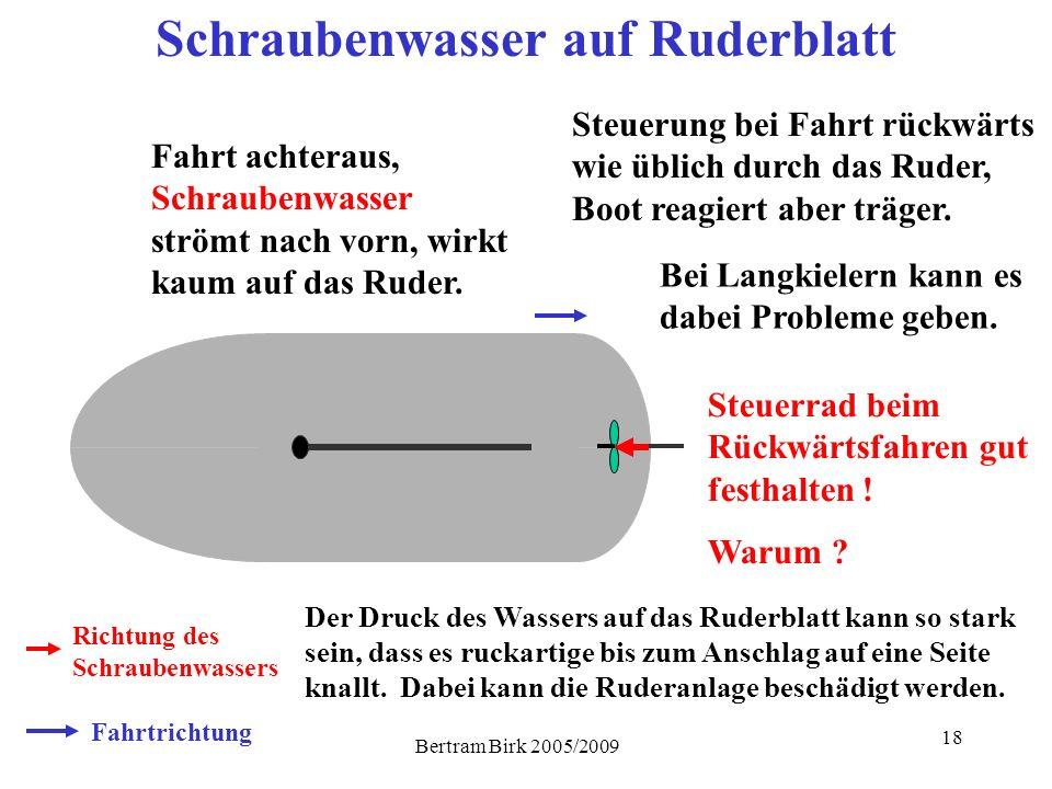 Bertram Birk 2005/2009 18 Schraubenwasser auf Ruderblatt Fahrtrichtung Richtung des Schraubenwassers Fahrt achteraus, Schraubenwasser strömt nach vorn