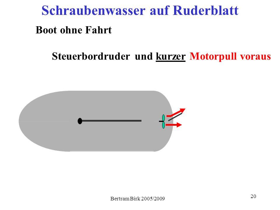 Bertram Birk 2005/2009 20 Steuerbordruder Schraubenwasser auf Ruderblatt Boot ohne Fahrt und kurzer Motorpull voraus