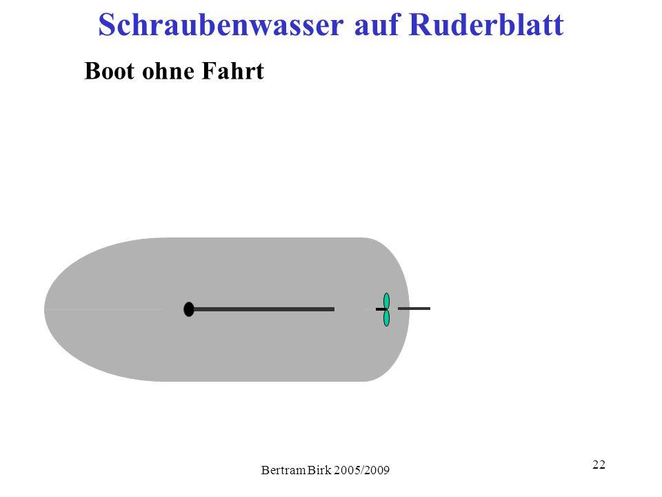 Bertram Birk 2005/2009 22 Schraubenwasser auf Ruderblatt Boot ohne Fahrt