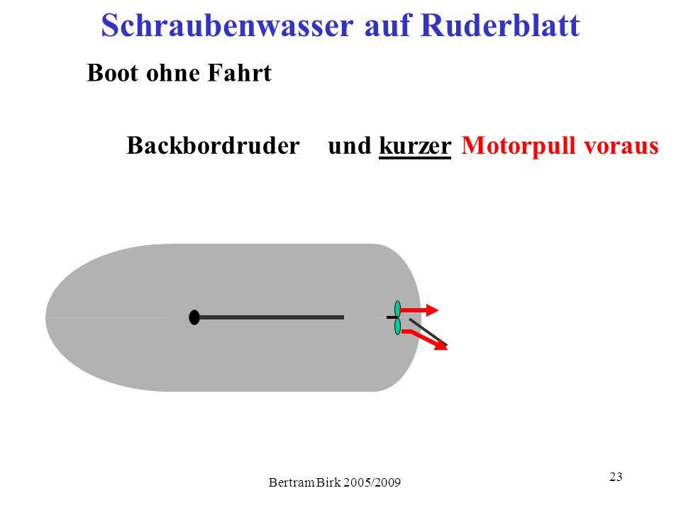 Bertram Birk 2005/2009 23 Schraubenwasser auf Ruderblatt Boot ohne Fahrt Backbordruderund kurzer Motorpull voraus