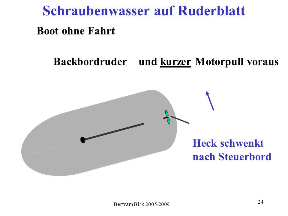 Bertram Birk 2005/2009 24 Heck schwenkt nach Steuerbord Schraubenwasser auf Ruderblatt Boot ohne Fahrt Backbordruderund kurzer Motorpull voraus