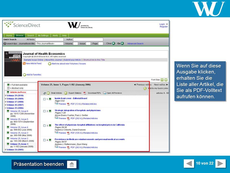 Wenn Sie auf diese Ausgabe klicken, erhalten Sie die Liste aller Artikel, die Sie als PDF-Volltext aufrufen können.