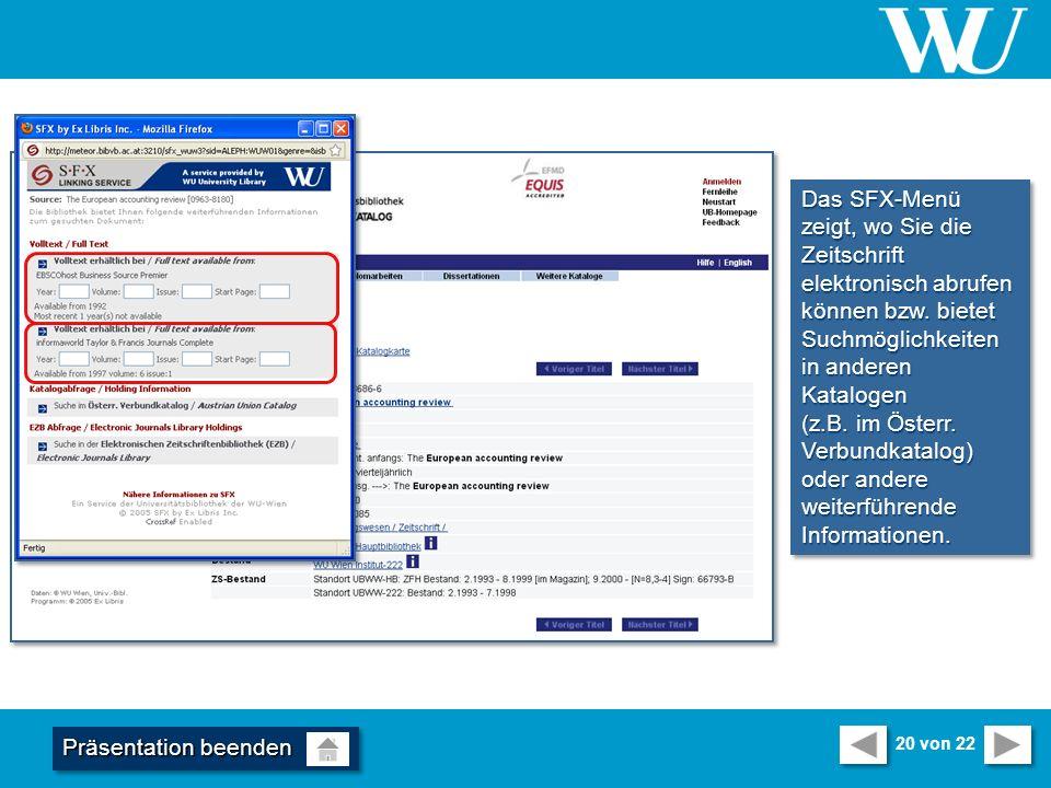 Das SFX-Menü zeigt, wo Sie die Zeitschrift elektronisch abrufen können bzw.