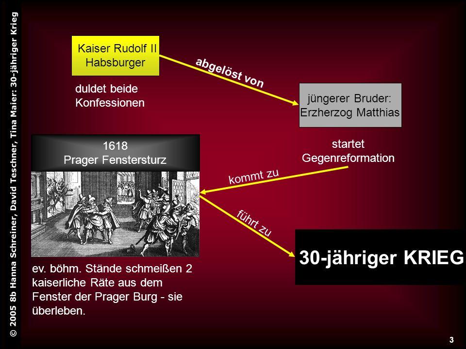 © 2005 8b Hanna Schreiner, David Teschner, Tina Maier: 30-jähriger Krieg 3 Kaiser Rudolf II Habsburger jüngerer Bruder: Erzherzog Matthias abgelöst vo