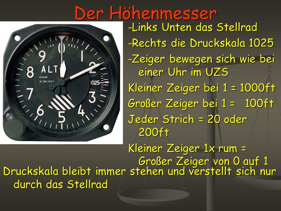 Der Höhenmesser -Links Unten das Stellrad -Rechts die Druckskala 1025 -Zeiger bewegen sich wie bei einer Uhr im UZS Kleiner Zeiger bei 1 = 1000ft Groß