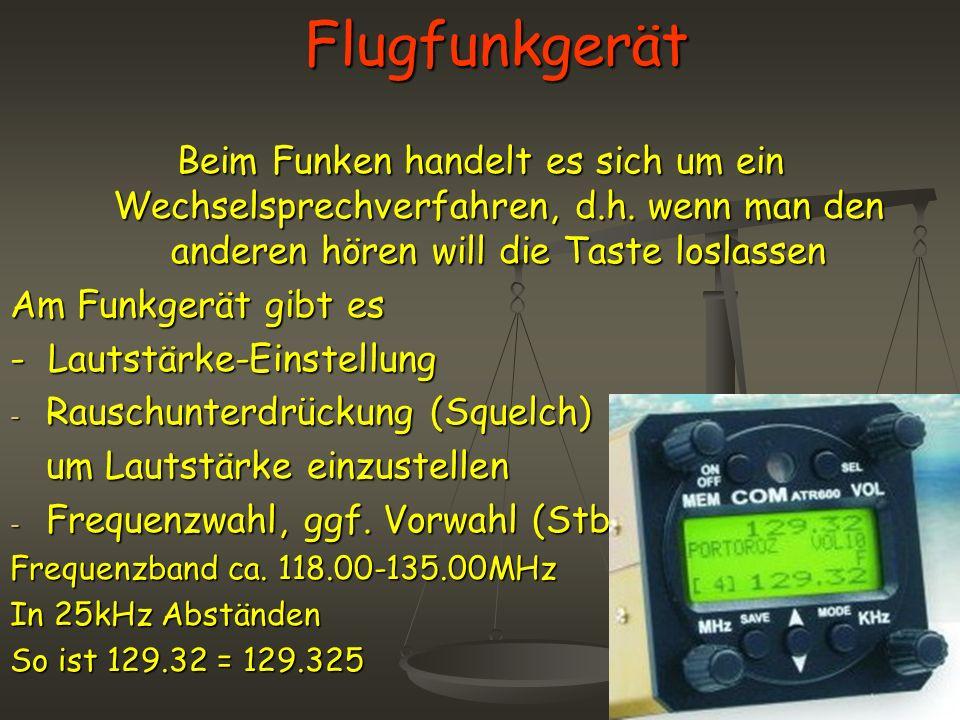Flugfunkgerät Beim Funken handelt es sich um ein Wechselsprechverfahren, d.h. wenn man den anderen hören will die Taste loslassen Am Funkgerät gibt es