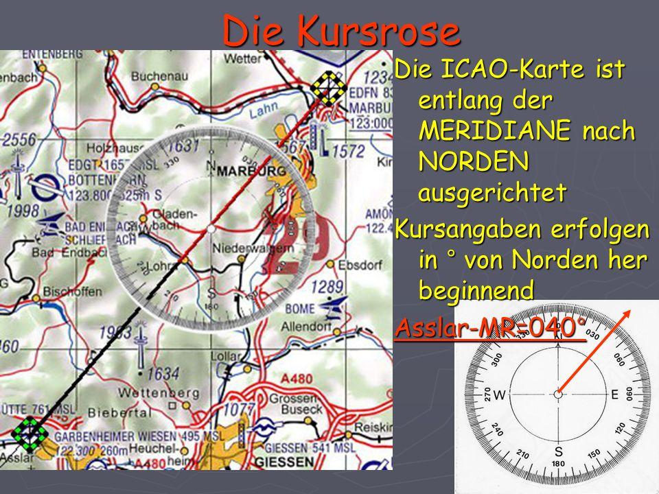 Die Kursrose Die ICAO-Karte ist entlang der MERIDIANE nach NORDEN ausgerichtet Kursangaben erfolgen in ° von Norden her beginnend Asslar-MR=040°