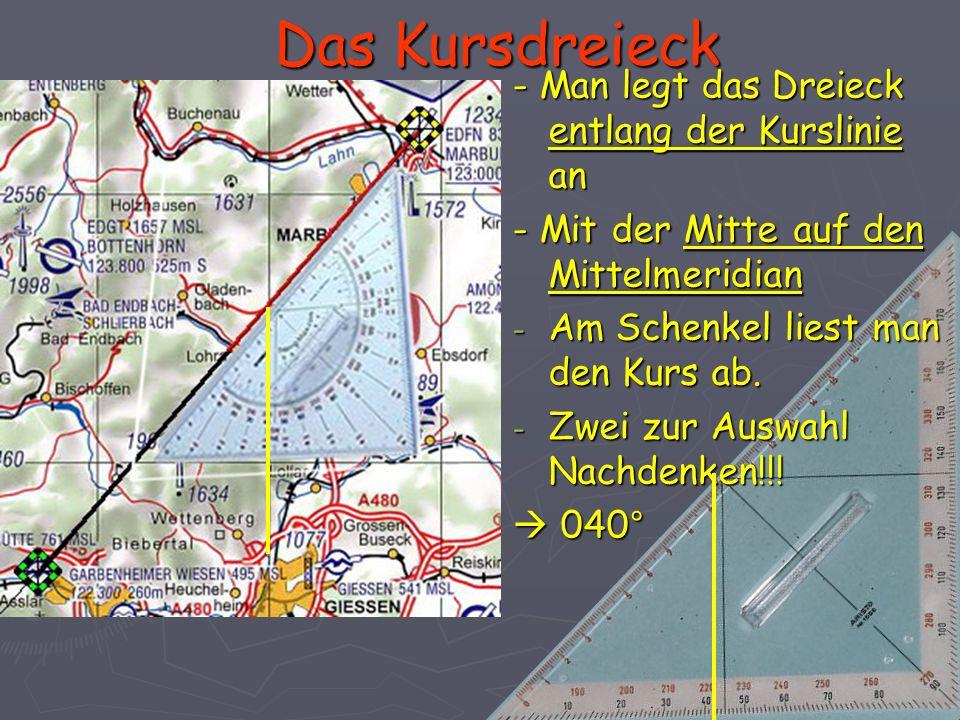 Das Kursdreieck - Man legt das Dreieck entlang der Kurslinie an - Mit der Mitte auf den Mittelmeridian - Am Schenkel liest man den Kurs ab. - Zwei zur