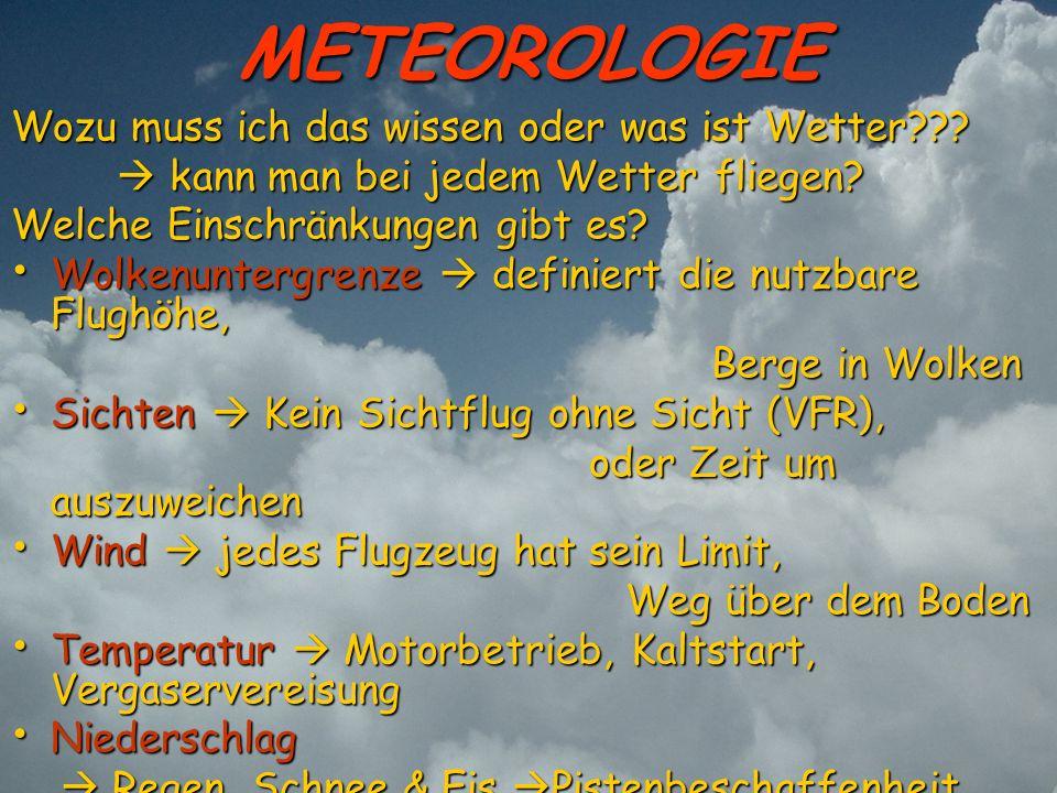 METEOROLOGIE Wozu muss ich das wissen oder was ist Wetter??? kann man bei jedem Wetter fliegen? kann man bei jedem Wetter fliegen? Welche Einschränkun