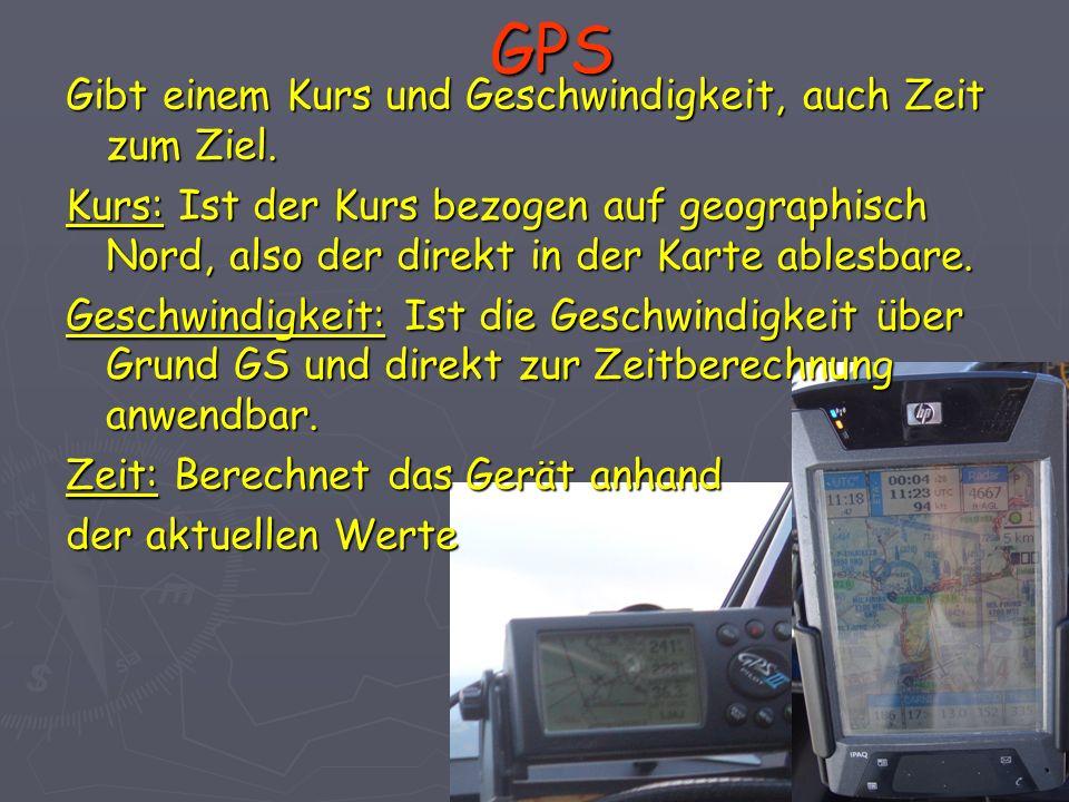 GPS Gibt einem Kurs und Geschwindigkeit, auch Zeit zum Ziel. Kurs: Ist der Kurs bezogen auf geographisch Nord, also der direkt in der Karte ablesbare.
