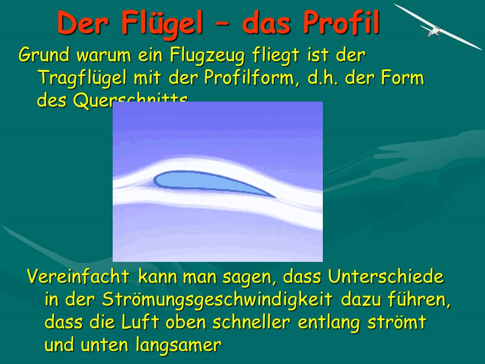 Der Flügel – das Profil Grund warum ein Flugzeug fliegt ist der Tragflügel mit der Profilform, d.h. der Form des Querschnitts. Vereinfacht kann man sa