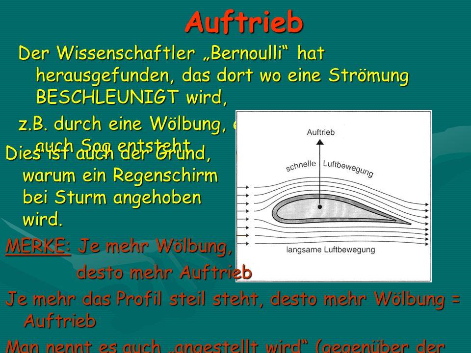 Auftrieb Der Wissenschaftler Bernoulli hat herausgefunden, das dort wo eine Strömung BESCHLEUNIGT wird, z.B. durch eine Wölbung, ein Unterdruck, oder