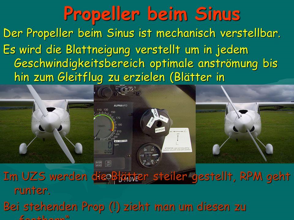 Propeller beim Sinus Der Propeller beim Sinus ist mechanisch verstellbar. Es wird die Blattneigung verstellt um in jedem Geschwindigkeitsbereich optim