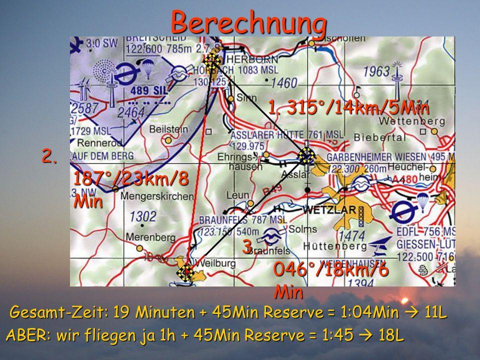 Berechnung 1. 315°/14km/5Min 2. 187°/23km/8 Min 3. 046°/18km/6 Min Gesamt-Zeit: 19 Minuten + 45Min Reserve = 1:04Min 11L Gesamt-Zeit: 19 Minuten + 45M