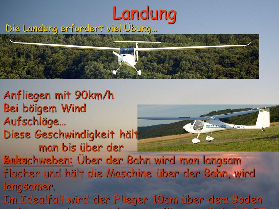 Landung Die Landung erfordert viel Übung… Die Landung erfordert viel Übung… Anfliegen mit 90km/h Bei böigem Wind Aufschläge… Diese Geschwindigkeit häl