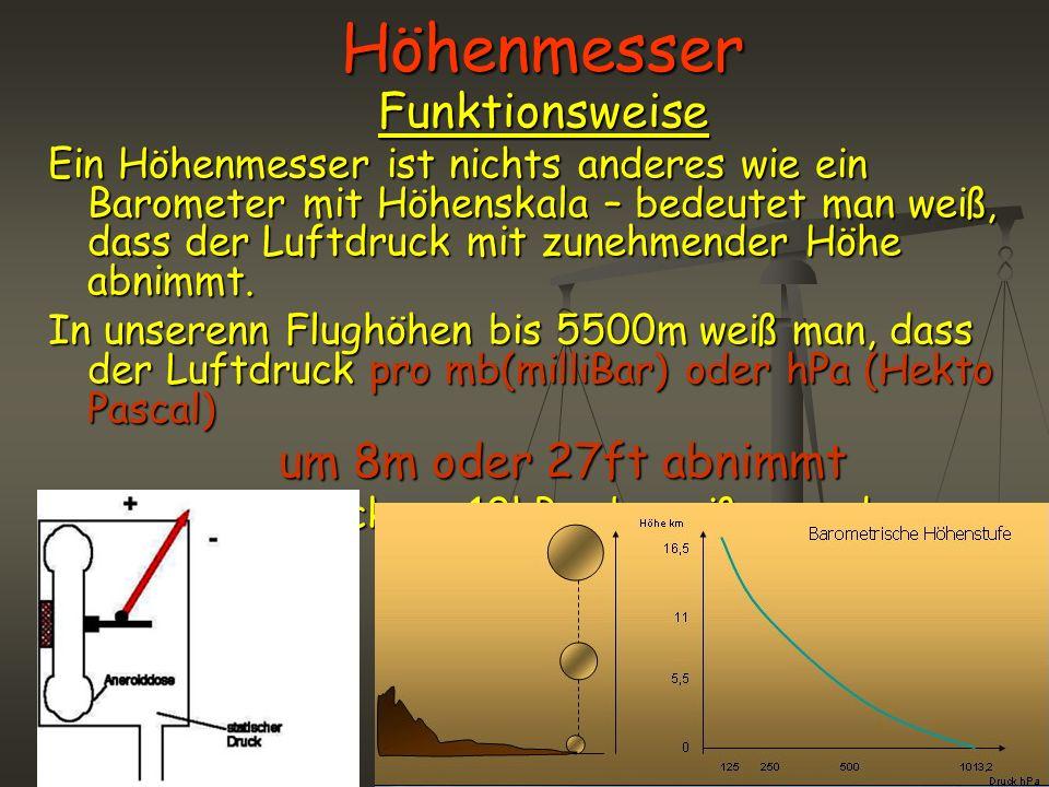 HöhenmesserFunktionsweise Ein Höhenmesser ist nichts anderes wie ein Barometer mit Höhenskala – bedeutet man weiß, dass der Luftdruck mit zunehmender