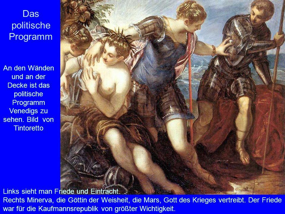 Das politische Programm Links sieht man Friede und Eintracht. Rechts Minerva, die Göttin der Weisheit, die Mars, Gott des Krieges vertreibt. Der Fried