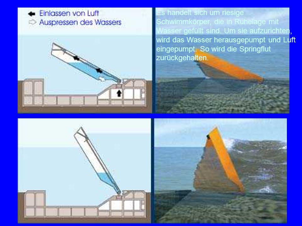 Mose 2 Es handelt sich um riesige Schwimmkörper, die in Ruhelage mit Wasser gefüllt sind. Um sie aufzurichten, wird das Wasser herausgepumpt und Luft
