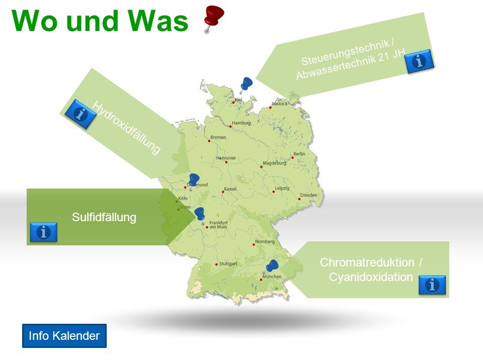 Wo und Was Sulfidfällung Hydroxidfällung Chromatreduktion / Cyanidoxidation Steuerungstechnik / Abwassertechnik 21 JH Info Kalender
