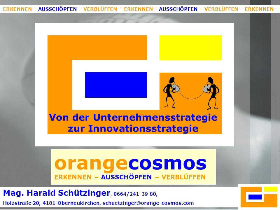1 orangecosmos ERKENNEN – AUSSCHÖPFEN – VERBLÜFFEN Von der Unternehmensstrategie zur Innovationsstrategie ERKENNEN – AUSSCHÖPFEN – VERBLÜFFEN – ERKENNEN – AUSSCHÖPFEN – VERBLÜFFEN – ERKENNEN – Mag.