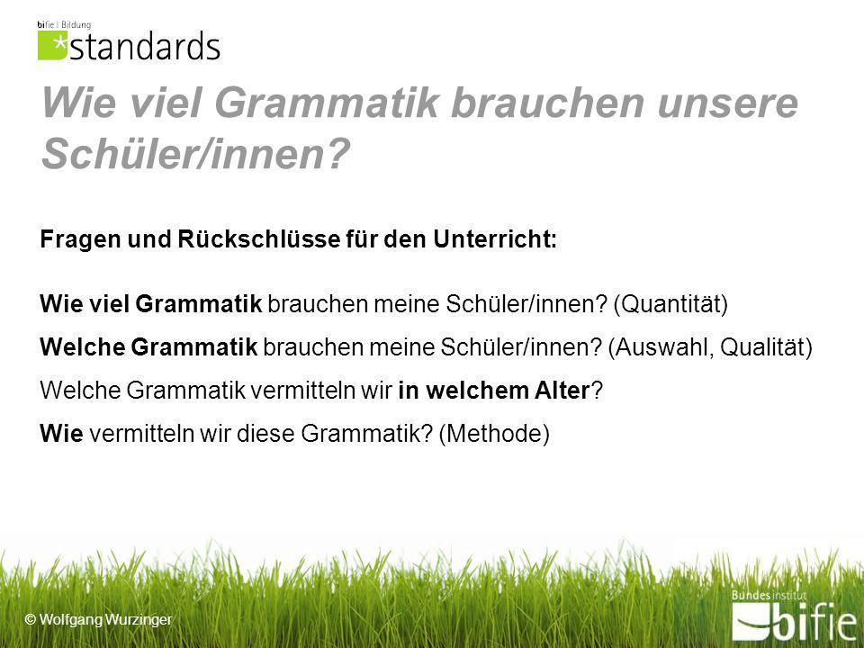 © Wolfgang Wurzinger Wie viel Grammatik brauchen unsere Schüler/innen.