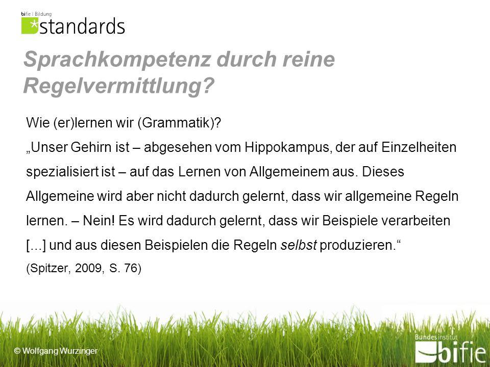 © Wolfgang Wurzinger Sprachkompetenz durch reine Regelvermittlung.