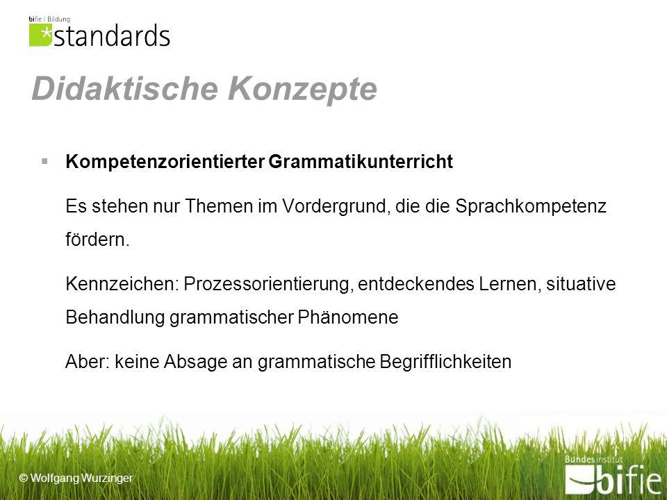 © Wolfgang Wurzinger Didaktische Konzepte Kompetenzorientierter Grammatikunterricht Es stehen nur Themen im Vordergrund, die die Sprachkompetenz fördern.