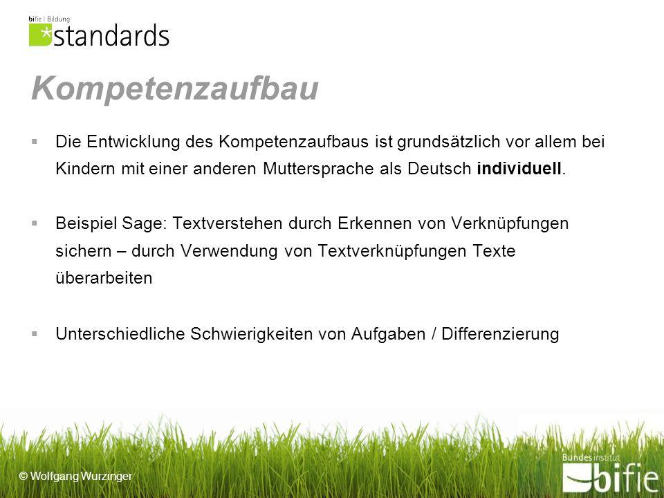 © Wolfgang Wurzinger Kompetenzaufbau Die Entwicklung des Kompetenzaufbaus ist grundsätzlich vor allem bei Kindern mit einer anderen Muttersprache als Deutsch individuell.
