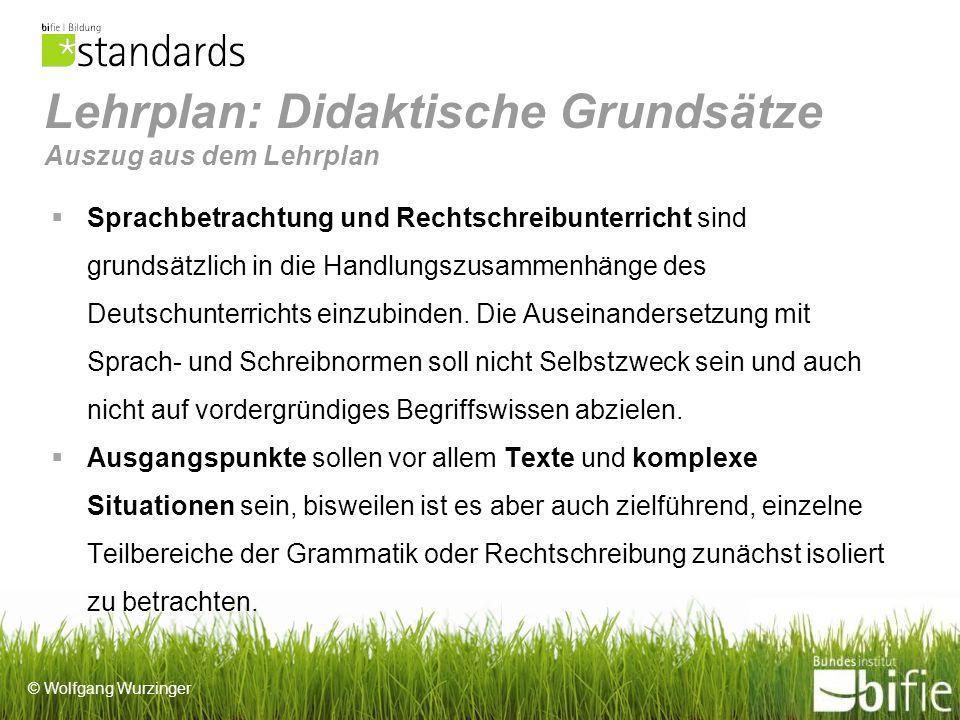 © Wolfgang Wurzinger Lehrplan: Didaktische Grundsätze Auszug aus dem Lehrplan Sprachbetrachtung und Rechtschreibunterricht sind grundsätzlich in die Handlungszusammenhänge des Deutschunterrichts einzubinden.