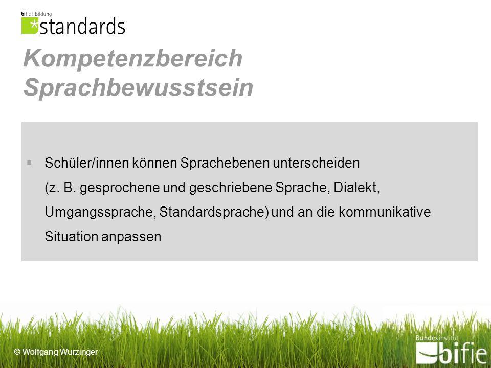 © Wolfgang Wurzinger Kompetenzbereich Sprachbewusstsein Schüler/innen können Sprachebenen unterscheiden (z.