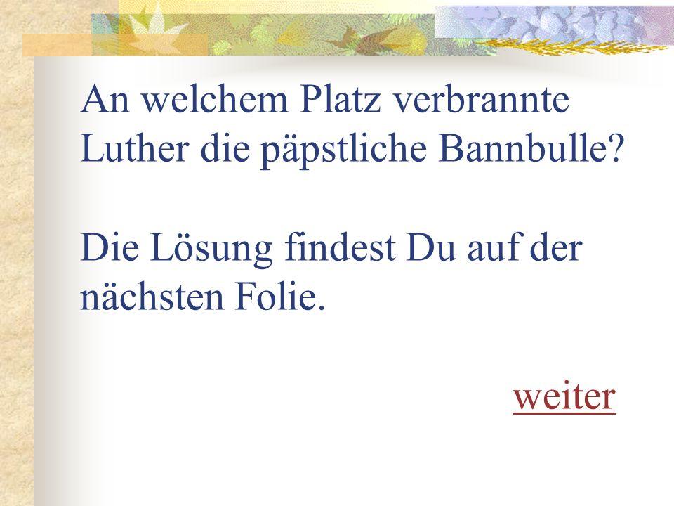 An welchem Platz verbrannte Luther die päpstliche Bannbulle.