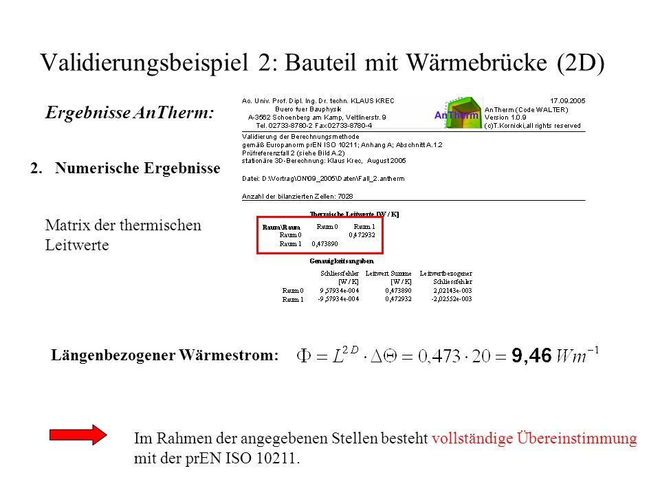 Validierungsbeispiel 2: Bauteil mit Wärmebrücke (2D) Ergebnisse AnTherm: 2.