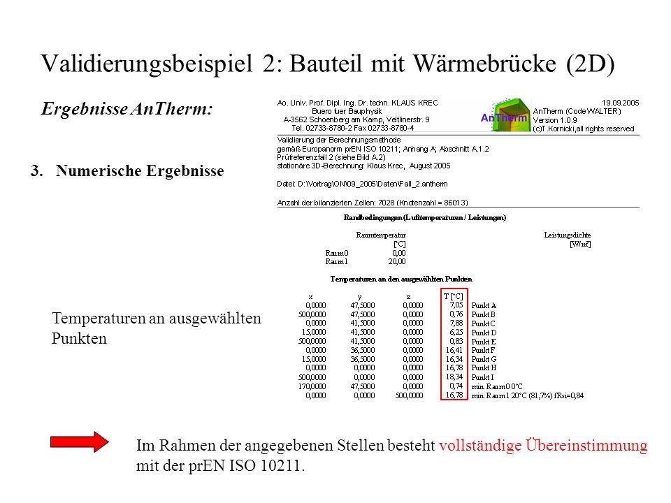 Validierungsbeispiel 2: Bauteil mit Wärmebrücke (2D) Ergebnisse AnTherm: 3.