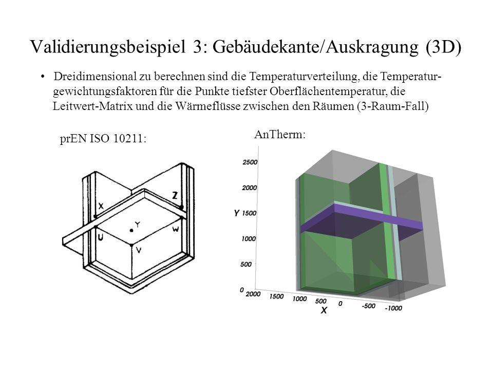 Validierungsbeispiel 3: Gebäudekante/Auskragung (3D) Dreidimensional zu berechnen sind die Temperaturverteilung, die Temperatur- gewichtungsfaktoren für die Punkte tiefster Oberflächentemperatur, die Leitwert-Matrix und die Wärmeflüsse zwischen den Räumen (3-Raum-Fall) prEN ISO 10211: AnTherm: