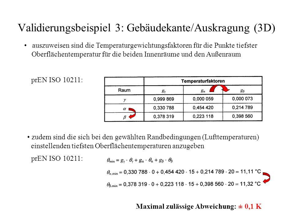 Validierungsbeispiel 3: Gebäudekante/Auskragung (3D) auszuweisen sind die Temperaturgewichtungsfaktoren für die Punkte tiefster Oberflächentemperatur für die beiden Innenräume und den Außenraum prEN ISO 10211: zudem sind die sich bei den gewählten Randbedingungen (Lufttemperaturen) einstellenden tiefsten Oberflächentemperaturen anzugeben prEN ISO 10211: Maximal zulässige Abweichung: ± 0,1 K