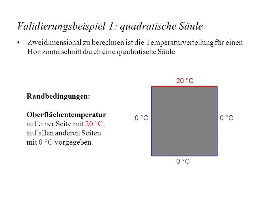 Validierungsbeispiel 1: quadratische Säule Zweidimensional zu berechnen ist die Temperaturverteilung für einen Horizontalschnitt durch eine quadratische Säule Randbedingungen: Oberflächentemperatur auf einer Seite mit 20 °C, auf allen anderen Seiten mit 0 °C vorgegeben.