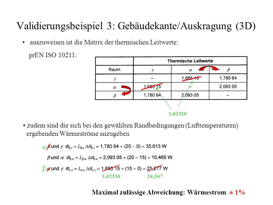 Validierungsbeispiel 3: Gebäudekante/Auskragung (3D) auszuweisen ist die Matrix der thermischen Leitwerte: prEN ISO 10211: 1,62316 zudem sind die sich bei den gewählten Randbedingungen (Lufttemperaturen) ergebenden Wärmeströme anzugeben α β 1,6231624,347 Maximal zulässige Abweichung: Wärmestrom ± 1%