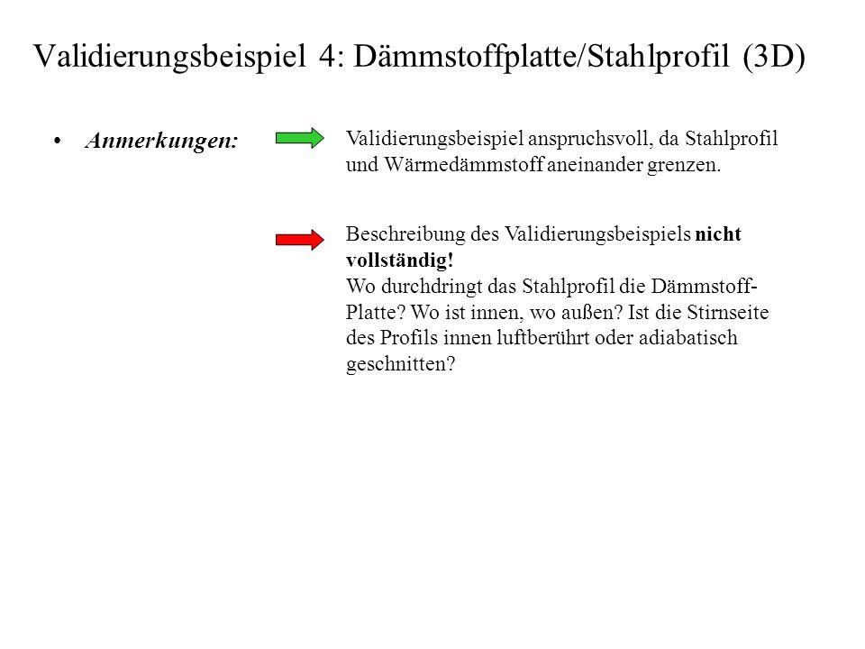Validierungsbeispiel 4: Dämmstoffplatte/Stahlprofil (3D) Anmerkungen: Validierungsbeispiel anspruchsvoll, da Stahlprofil und Wärmedämmstoff aneinander grenzen.