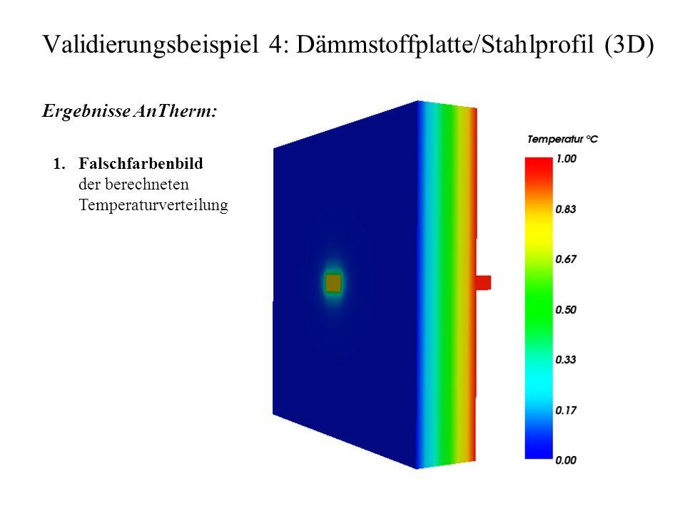 Validierungsbeispiel 4: Dämmstoffplatte/Stahlprofil (3D) Ergebnisse AnTherm: 1.Falschfarbenbild der berechneten Temperaturverteilung